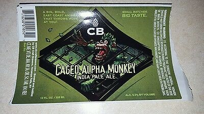CB BREWERY- CAGED ALPHA MONKEY IPA BEER BOTTLE  LABEL -craft brewery
