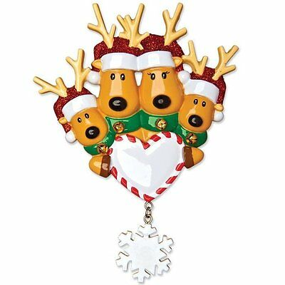 New Reindeer Family of 4 Personalized Christmas Ornament