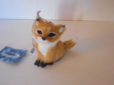 Adorable! Fox ornament Christmas holiday faux fur new with tags
