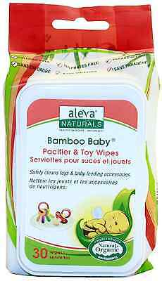 Aleva Naturals Bamboo Baby Pacifier and Toy Wipes 30-Count (Pack of 12)