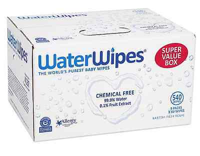 WaterWipes Sensitive Baby Wipes, Natural & Chemical-Free, 9 packs of 60 Count (5