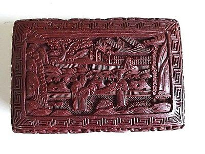 Antique Chinese 19C export cinnabar older maroon aged color lacquer carved box