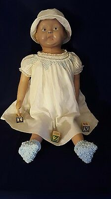 Vintage Martha Chase Large Hospital Doll 31 inches Molded Blonde Hair Blue Eyes