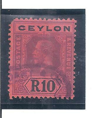 CEYLON...# 213  ( 10 RUPEES )...1912/25...Used w Fiscal Cancel...SCV  $ 105