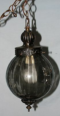 Vintage Mid Century Smoke Glass Replacement Globe & Finial Swag Ceiling Light
