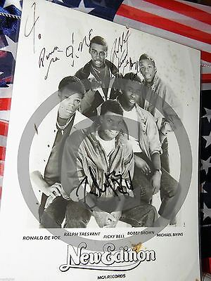 Bobby Brown & NE Signed 8x10 Picture & New Edition Tour Book w/Johnny Gill