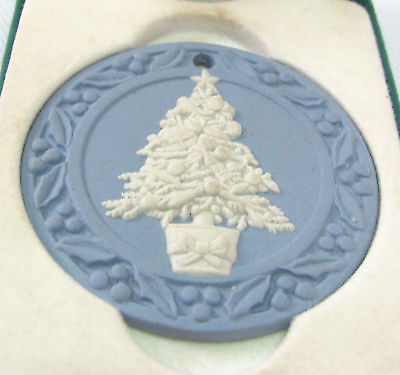 Vintage 1988 Wedgwood Jasperware Ornament Christmas Tree in Orig. Box