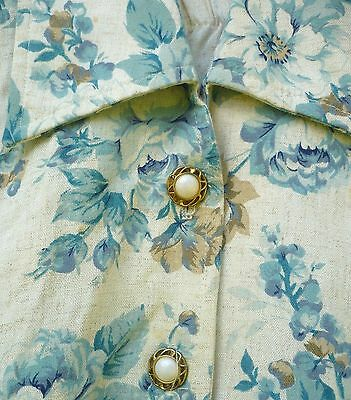 Vtg 80S Usa Made Sz M 2 Pc Set Suit Skirt Top Blouse Chambray Blue Floral Women