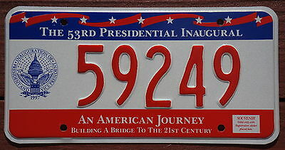 District of Columbia 53rd Presidential Inaugural License Plate - Washington DC