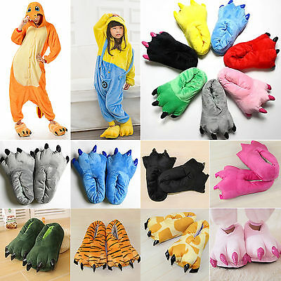 Adults Kids Cartoon Animal Cosplay Costume Slippers Claw Paw Shoes Indoor Home