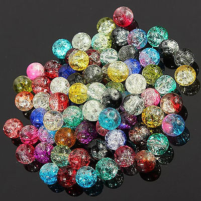 Mixed Crystal Crack Glass Round Loose Spacer Beads Charm 8/10/12mm Little Gift