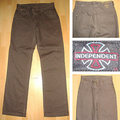 """INDEPENDENT - Chris Haslam - 32"""" waist - Skateboard Trousers - Chocolate / Jeans"""