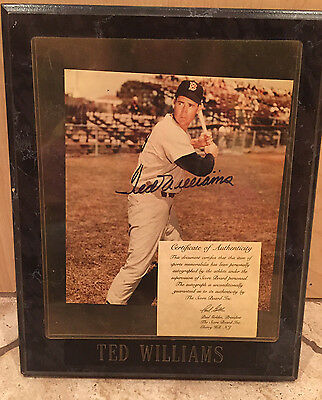 TED WILLIAMS Boston Red Sox AUTOGRAPHED Picture with COA and FRAME