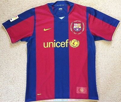 Authentic Barcelona Camp Nou 50 Years Soccer Jersey Football Shirt Nike Mens M