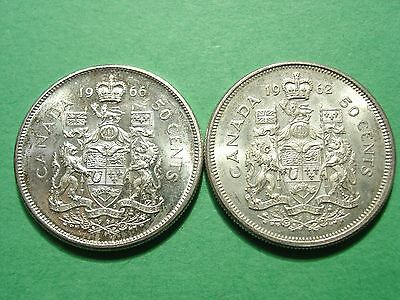 CANADA lot of 2 Large Silver Coins 50 Cents 1962 - 1966