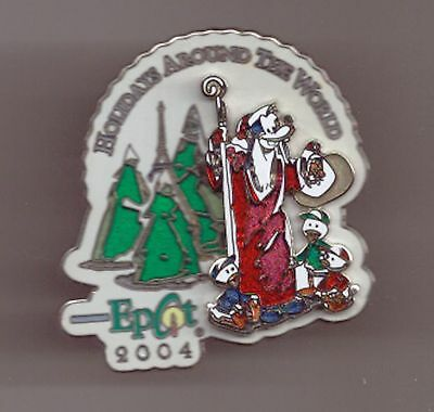 Disney Epcot HOLIDAYS AROUND WORLD XMAS 2004 SANTA GOOFY & DON NEPHEWS 3D pin