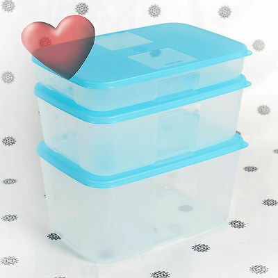 NEW Tupperware Freezer Mates Family Set of 3 containers with Blue Seals