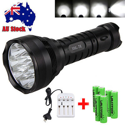 Super Bright 30000Lm 12x XML T6 LED Flashlight Torch Light 6*18650+AU Charger