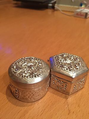 2 Antique Style Islamic Persian Indian Solid Silver Pill Box Snuff Scrap Is 82g