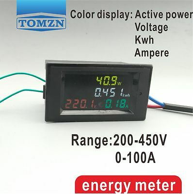 4IN1 HD color screen 180 degrees Flawles LED display panel meter 200-400V 100A