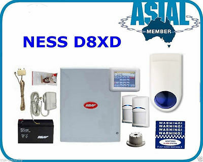 Complete Kit NESS Alarm D8XD Navigator (Touchscreen) Keypad 2 Lux Quad PIR