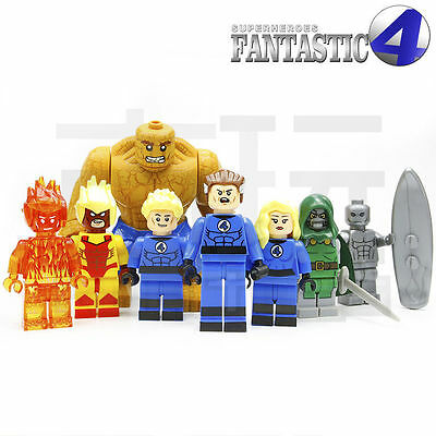 8pcs Fantastic Four 4 The THING Invisible Girl Human Torch diy Minifigures Toys