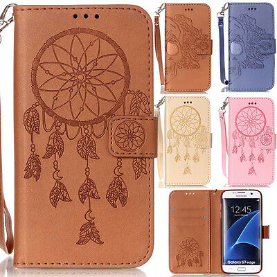 Magnetic Patterned Flip Leather Card Wallet Case Cover For Samsung S8 Plus S7 S6