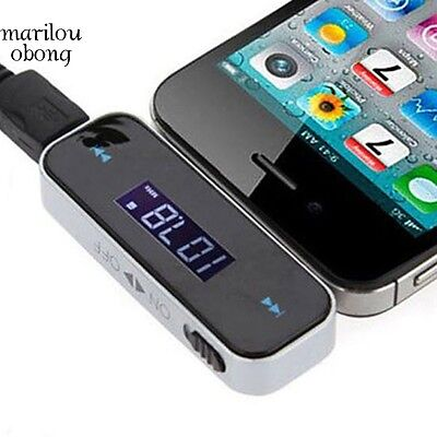 New Wireless FM Transmitter Cable with 3.5mm Plug Car LCD Display For iPhone-US