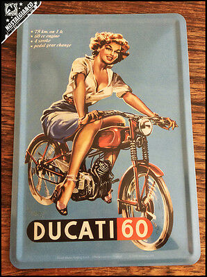 DUCATI 60 New Official Metal Postcard mini tin sign card motorcycle moped pinup
