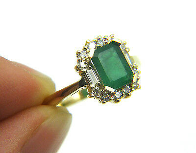 BH Division of EFFY 2.25ctw Green Emerald Diamond 14k Solid Yellow Gold Ring