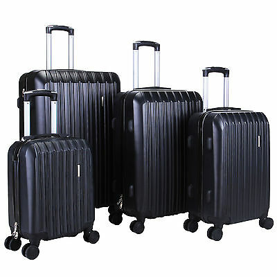 4Pcs Luggage Black Travel  Bag ABS Trolley Spinner Carry On Suitcase TSA Lock