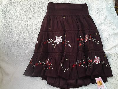 Bnwt - M&s - Girls Brown Embroidered Corduroy Tiered Skirt - Age 11 Years
