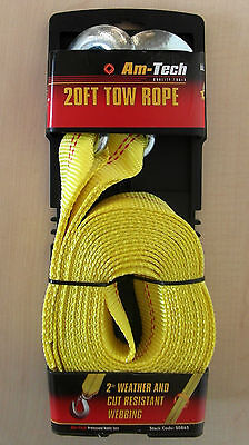 "Am-Tech 20ft 10,000lb Tow Rope with 2"" Weather and Cut Resistant Webbing"