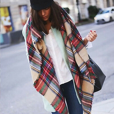 US SELL Women Blanket Oversized Tartan Big Long Scarf Wrap Shawl Pashmina StoEK