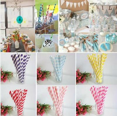 25PCS Biodegradable Paper Healthy Drink Straws Striped for Birthday Wedding