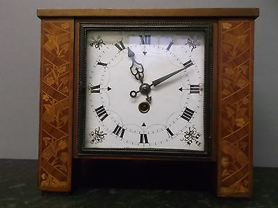 Vintage French Style 8 Day Mantle Clock with Beautiful Marquetry