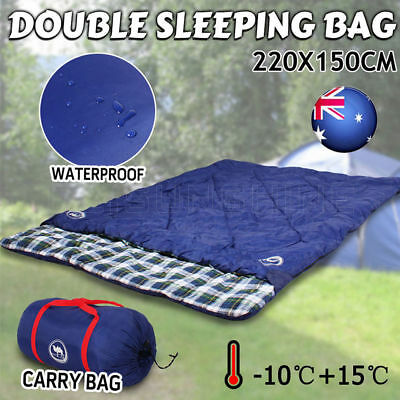 New Double Outdoor Camping Sleeping Bag Hiking Thermal -10℃+15℃ 220x150cm Cotton