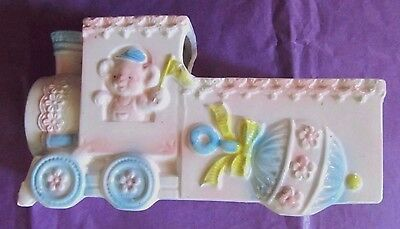 Vintage Porcelain Music Box Train Planter Japan Works Beautiful Baby Nursery