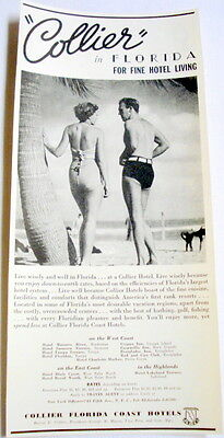 """1938 Ad Collier Florida Coast Hotels """"For Fine Hotel Living"""""""