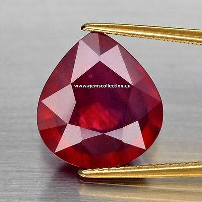 Aaa Rubino Naturale - Natural Ruby Ct 8.74 Si  Pear Cut Monzabique Very Good
