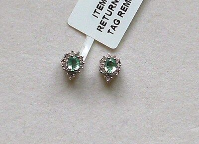 9K White Gold Emerald And Diamond Earrings