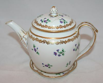 Rare Antique 'Bloor Derby' Hand Painted Sprig Pattern Teapot & Stand 1806-1825