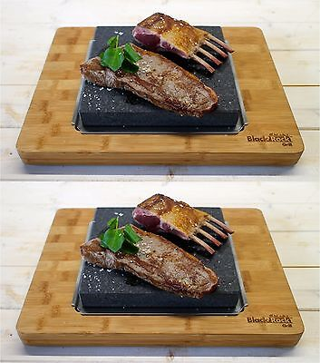 Hot Stone Cooking Steak Set Dinner Black Rock Grill Lava Sizzling Plate HO-3627