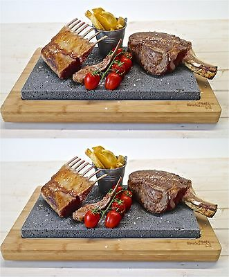 Hot Stone Cooking Sharing Steak Set Dinner Black Rock Grill Sizzling Plate HO66