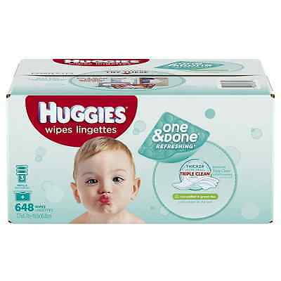 Huggies One and Done Refreshing Baby Wipes Refill, Cucumber and Green Tea, 648 C