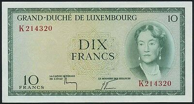 Luxemburg / Luxembourg 10 Francs (1955) Pick 48 (1/1-)