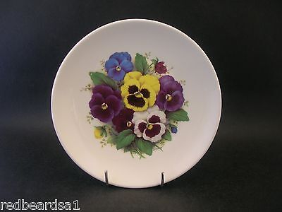 Crown Trent Bone China Decorative Plate Pansy Pattern Signed D. Hague 14cms