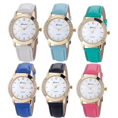 Women Girl Quartz Ladies Wrist Watches Coloured Fashion Leather Strap Gift