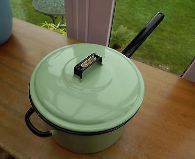 Vintage Judges Large Green Enamel Heavy Base Saucepan, With Brass Name Plate,