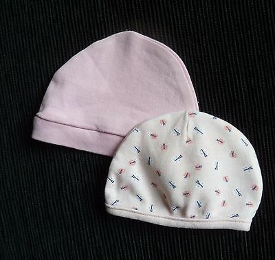 Baby clothes GIRL premature/tiny 5lbs/2.3kg 2 pink soft cotton hats SEE SHOP